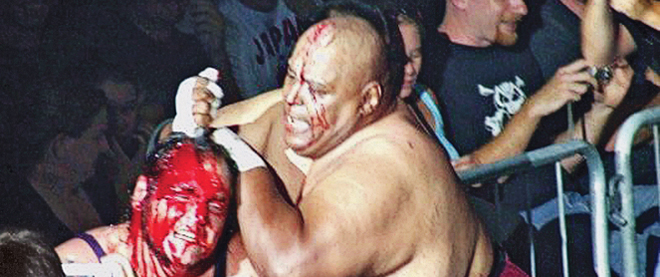 Devon Nicholson and Abdullah the Butcher fight at the Ottawa Civic Centre in 2007.